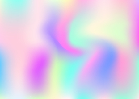 Hologram abstract background. Multicolor gradient mesh backdrop with hologram. 90s, 80s retro style. Iridescent graphic template for banner, flyer, cover design, mobile interface, web app. Illustration