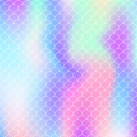 Mermaid scales background with holographic gradient. Bright color transitions. Fish tail banner and invitation. Underwater and sea pattern for girlie party. Rainbow backdrop with mermaid scales.