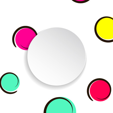 Pop art colorful confetti background. Big colored spots and circles on white background with black dots and ink lines. Banner with 3d paper plate in pop art style. Cute template for flyer, sale, ad