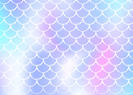 Holographic scale background with gradient mermaid. Bright color transitions. Fish tail banner and invitation. Underwater and sea pattern for girlie party. Neon backdrop with holographic scale. Illustration