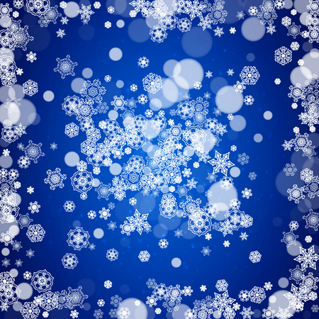 Christmas background with white snowflakes and sparkles. Winter sales, New Year and Christmas background for party invitation, banner, gift cards, retail offers. Falling snow. Frosty winter backdrop. Illustration