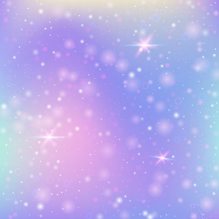 Fairy background with rainbow mesh. Cute universe banner in princess colors. Fantasy gradient backdrop with hologram. Holographic fairy background with magic sparkles, stars and blurs.