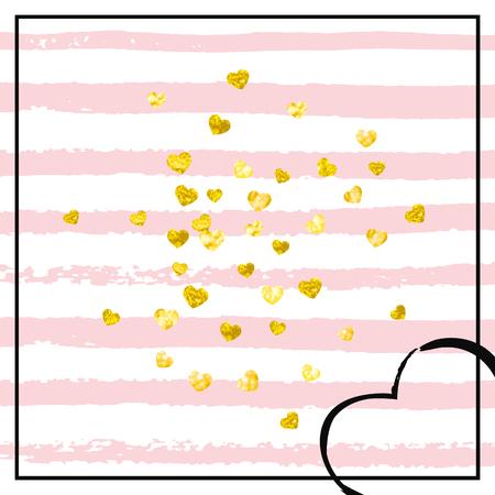 Coriandoli cuori glitter oro su strisce rosa. Paillettes cadenti con riflessi e scintillii. Progettare con cuori glitter oro per invito a una festa, banner, biglietto di auguri, addio al nubilato.