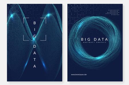 Fondo de computación cuántica. Tecnología para big data, visualización, inteligencia artificial y deep learning. Plantilla de diseño para el concepto de pantalla. Telón de fondo de computación cuántica geométrica. Ilustración de vector