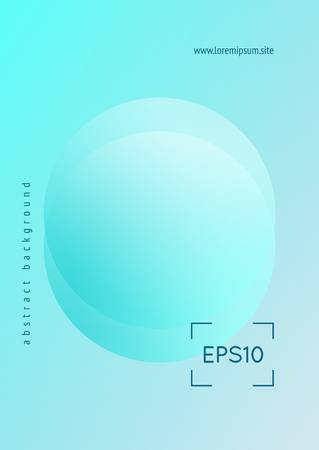 Fluid poster with round shapes. Gradient circles on holographic background. Modern hipster template for placards, covers, banners, flyers, presentations, annual. Minimal fluid poster in neon colors. Illustration