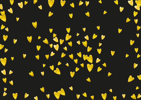 Heart border background with gold glitter. Valentines day. Vector confetti. Hand drawn texture.  Love theme for poster, gift certificate, banner. Wedding and bridal template with heart border.