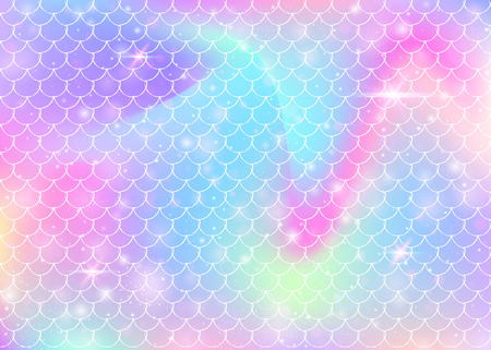 Rainbow scales background with kawaii mermaid princess pattern. Fish tail banner with magic sparkles and stars. Sea fantasy invitation for girlie party. Pearlescent backdrop with rainbow scales.