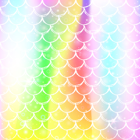 Kawaii mermaid background with princess rainbow scales pattern. Fish tail banner with magic sparkles and stars. Sea fantasy invitation for girlie party. Vibrant kawaii mermaid backdrop. Illustration