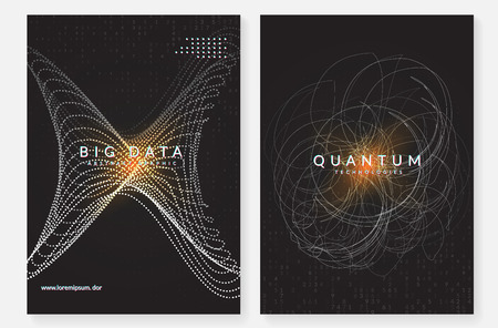 Big data background. Technology for visualization, artificial intelligence, deep learning and quantum computing. Design template for computing concept. Vector big data backdrop.