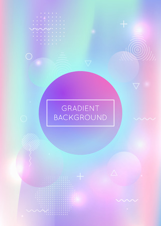 Memphis gradient background with liquid shapes. Dynamic holographic fluid with bauhaus elements. Graphic template for book, annual, mobile interface, web app. Colorful memphis gradient. Illusztráció