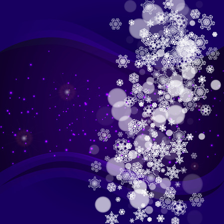 Winter border with ultraviolet snowflakes. New Year frosty backdrop. Snow frame for flyer, gift card, invitation, business offer and ad. Christmas trendy background. Holiday banner with winter border
