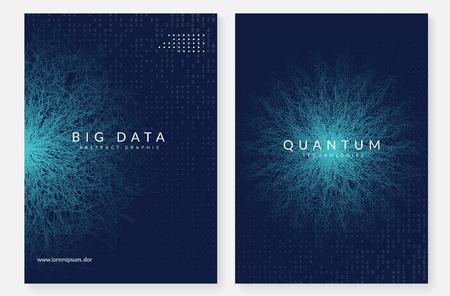 Contexte de l'informatique quantique. Technologie pour les mégadonnées, la visualisation, l'intelligence artificielle et l'apprentissage en profondeur. Modèle de conception pour le concept d'interface. Toile de fond de l'informatique quantique futuriste.