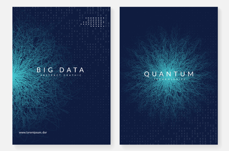 Quantum computing background. Technology for big data, visualization, artificial intelligence and deep learning. Design template for interface concept. Futuristic quantum computing backdrop.