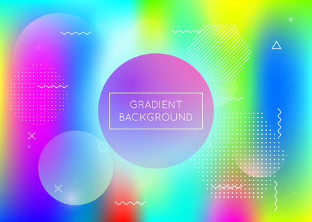 Memphis gradient background with liquid shapes. Dynamic holographic fluid with bauhaus elements. Graphic template for book, annual, mobile interface, web app. Bright memphis gradient.
