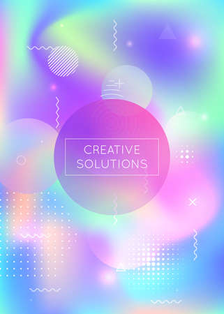 Bauhaus background with liquid shapes. Dynamic holographic fluid with gradient memphis elements. Graphic template for brochure, banner, wallpaper, mobile screen. Iridescent bauhaus background.