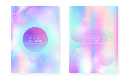 Fluid shapes cover with liquid dynamic background. Holographic bauhaus gradient with memphis. Graphic template for placard, presentation, banner, brochure. Iridescent fluid shapes cover.