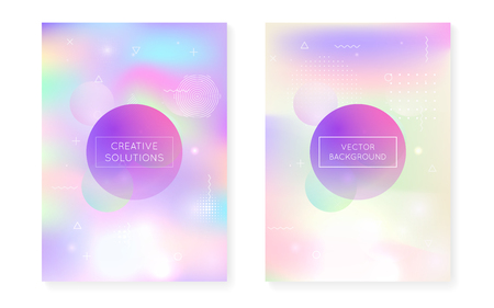 Liquid shapes cover with dynamic fluid. Holographic bauhaus gradient with memphis background. Graphic template for placard, presentation, banner, brochure. Rainbow liquid shapes cover. 일러스트