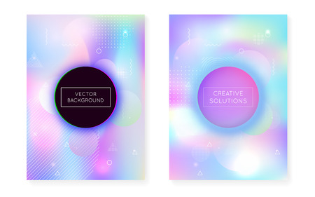 Dynamic shape background with liquid fluid. Holographic bauhaus gradient with memphis cover. Graphic template for book, annual, mobile interface, web app. Spectrum dynamic shape background.