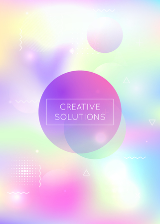 Bauhaus background with liquid shapes. Dynamic holographic fluid with gradient memphis elements. Graphic template for brochure, banner, wallpaper, mobile screen. Hipster bauhaus background. 일러스트