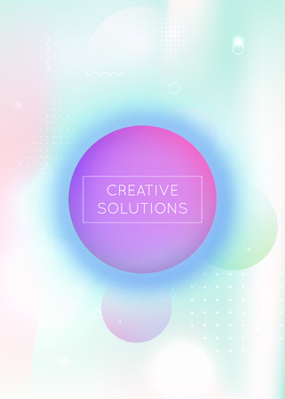 Fluid shapes background with liquid dynamic elements. Holographic bauhaus gradient with memphis. Graphic template for brochure, banner, wallpaper, mobile screen. Multicolor fluid shapes background. 일러스트