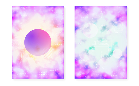 Fluorescent background with liquid neon shapes. Purple fluid. Luminous cover with bauhaus gradient. Graphic template for placard, presentation, banner, brochure. Hipster fluorescent background.