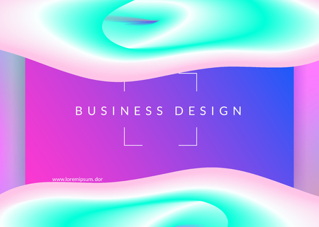 Liquid fluid. Bright screen, ui layout. Vivid gradient mesh. Holographic 3d backdrop with modern trendy blend. Liquid fluid with dynamic elements and shapes. Landing page.