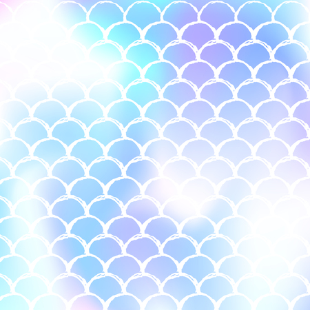 Mermaid scales background with holographic gradient. Bright color transitions. Fish tail banner and invitation. Underwater and sea pattern for girlie party. Hipster backdrop with mermaid scales. Illustration