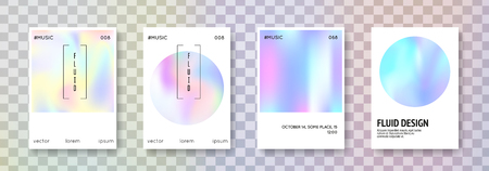 Holographic flyer set. Abstract backgrounds. Stylish holographic flyer with gradient mesh. 90s, 80s retro style. Iridescent graphic template for brochure, banner, wallpaper, mobile screen 일러스트