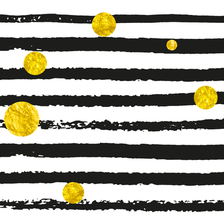 Gold glitter dots confetti on black stripes. Falling sequins with metallic shimmer. Design with gold glitter dots for party invitation, banner, greeting card, bridal shower.