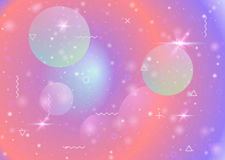 Galaxy background with cosmos and universe shapes and star dust. Holographic futuristic gradients. Fantastic space landscape with planets. 3d fluid with magic sparkles. Memphis galaxy background. 일러스트