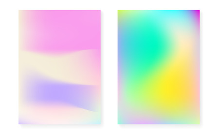 Hologram gradient background set with holographic cover. 90s, 80s retro style. Iridescent graphic template for book, annual, mobile interface, web app. Stylish minimal hologram gradient. 일러스트