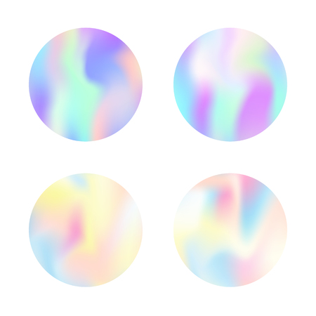 Holographic abstract backgrounds set. Minimal holographic backdrop with gradient mesh. 90s, 80s retro style. Iridescent graphic template for banner, flyer, cover, mobile interface, web app.