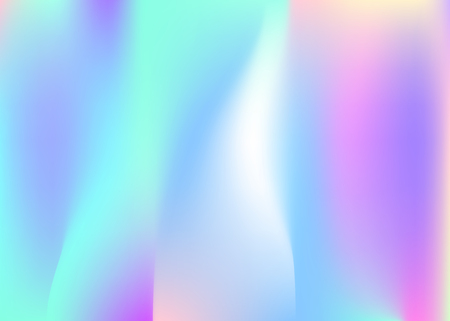 Hologram abstract background. Rainbow gradient mesh backdrop with hologram. 90s, 80s retro style. Pearlescent graphic template for brochure, banner, wallpaper, mobile screen. 일러스트