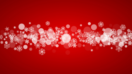 Christmas background with white snowflakes on red background. Santa Claus colors. New Year and Christmas background for party invitation, banner, gift card, retail offer. Horizontal winter backdrop