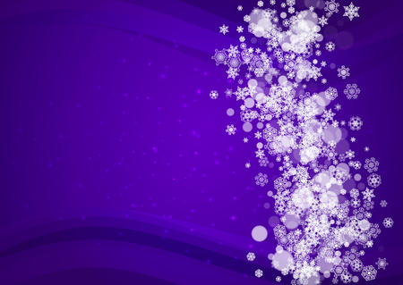 Winter border with ultra violet snowflakes. New Year snowy backdrop. Snow frame for gift coupons, vouchers, ads, party events. Christmas trendy background. Holiday banner with winter border
