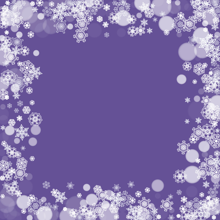 Winter border with ultraviolet snowflakes. New Year frosty backdrop. Snow frame for flyer, gift card, party invite, retail offer and ad. Christmas trendy background. Holiday banner with winter border