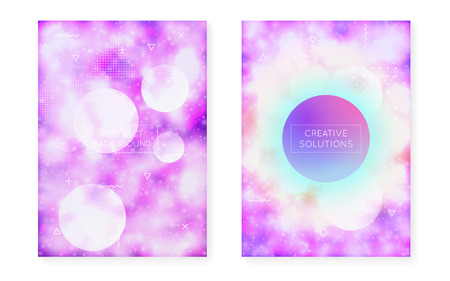 Dynamic shape background with liquid fluid. Neon bauhaus gradient with purple luminous cover. Graphic template for flyer, ui, magazine, poster, banner and app. Retro dynamic shape background. Illustration