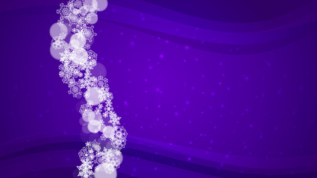 Snowflake border with ultra violet snow. New Year backdrop. Winter frame for flyer, gift card, invitation, business offer and ad. Christmas trendy background. Holiday banner with snowflake border Ilustrace