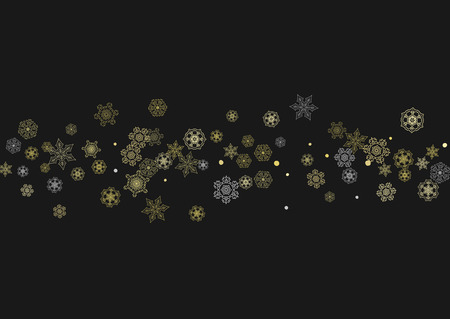 Glitter snowflakes frame on black horizontal background. Shiny Christmas and New Year frame for gift certificate, ads, banners, flyers. Falling snow with golden glitter snowflakes for party invite Ilustração