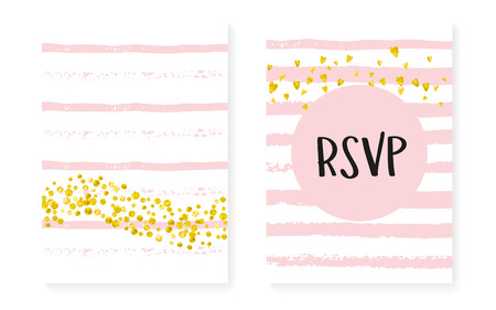 Gold glitter confetti with dots and sequins. Wedding and bridal shower invitation cards set. Vertical stripes background. Tender gold glitter confetti for party, event, save the date flyer. Illustration