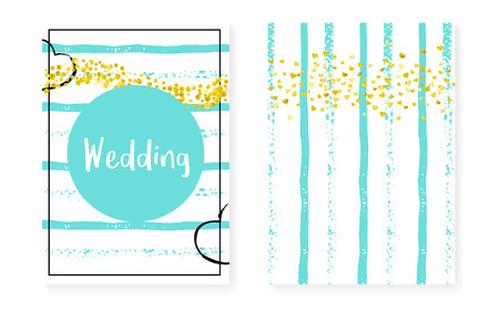 Wedding card invitation with dots and sequins. Bridal shower set with gold glitter confetti. Vertical mint stripes background. Retro wedding card for party, event, save the date flyer