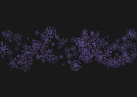 Snow frame sale with ultraviolet snowflakes. Winter border for gift coupons, vouchers, ads, party events. Christmas trendy background. Holiday banner on snow frame. New Year snowy backdrop