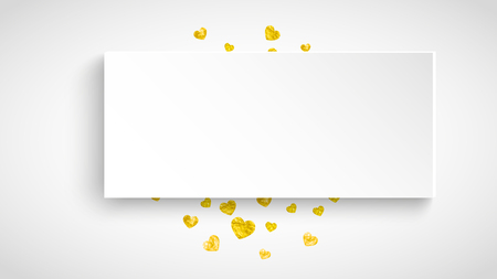 Valentine paper frame with gold glitter hearts. February 14th day. Vector confetti for valentine paper frame. White festive banner with texture. Love theme for gift coupons, vouchers, ads, events. Stock Illustratie