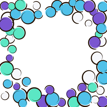 Comic background with pop art polka dot confetti. Big colored spots, spirals and circles on white. Vector illustration. Trendy kids splatter for birthday party. Rainbow comic background. Ilustração