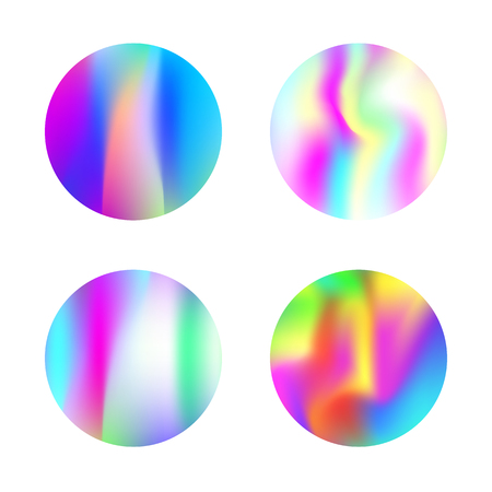 Holographic abstract backgrounds set. Futuristic holographic backdrop with gradient mesh. 90s, 80s retro style. Pearlescent graphic template for banner, flyer, cover, mobile interface, web app. 일러스트