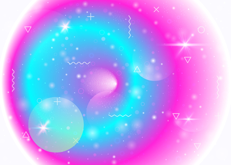 Galaxy background with cosmos and universe shapes and star dust. Holographic futuristic gradients. 3d fluid with magic sparkles. Fantastic space landscape with planets. Memphis galaxy background.