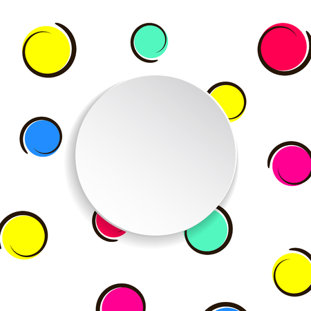 Pop art colorful confetti background. Big colored spots and circles on white background with black dots and ink lines. Banner with 3d paper plate in pop art style. Vibrant template for flyer, sale, ad Stock Illustratie