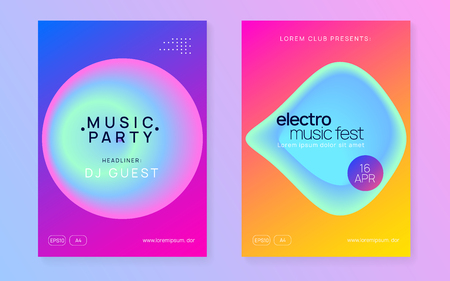 Music flyer set. Electronic sound. Night dance lifestyle holiday. Fluid holographic gradient shape and line. Wavy indie party brochure layout. Poster for summer fest and music flyer.