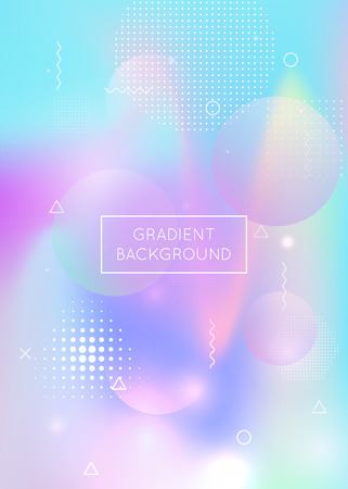 Memphis gradient background with liquid shapes. Dynamic holographic fluid with bauhaus elements. Graphic template for book, annual, mobile interface, web app. Futuristic memphis gradient. Vectores