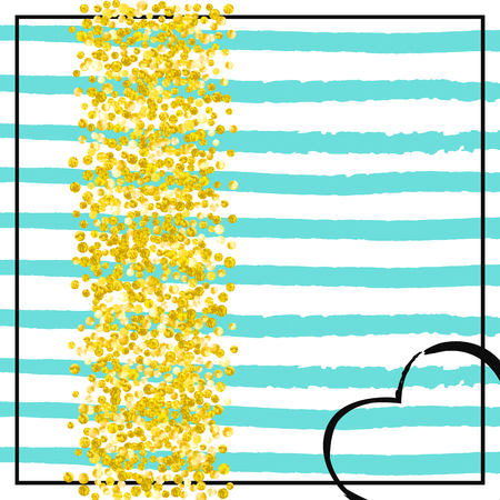 Gold glitter dots confetti on turquoise stripes. Sequins with metallic shimmer and sparkles. Design with gold glitter dots for party invitation, event banner, flyer, birthday card. Stock Illustratie